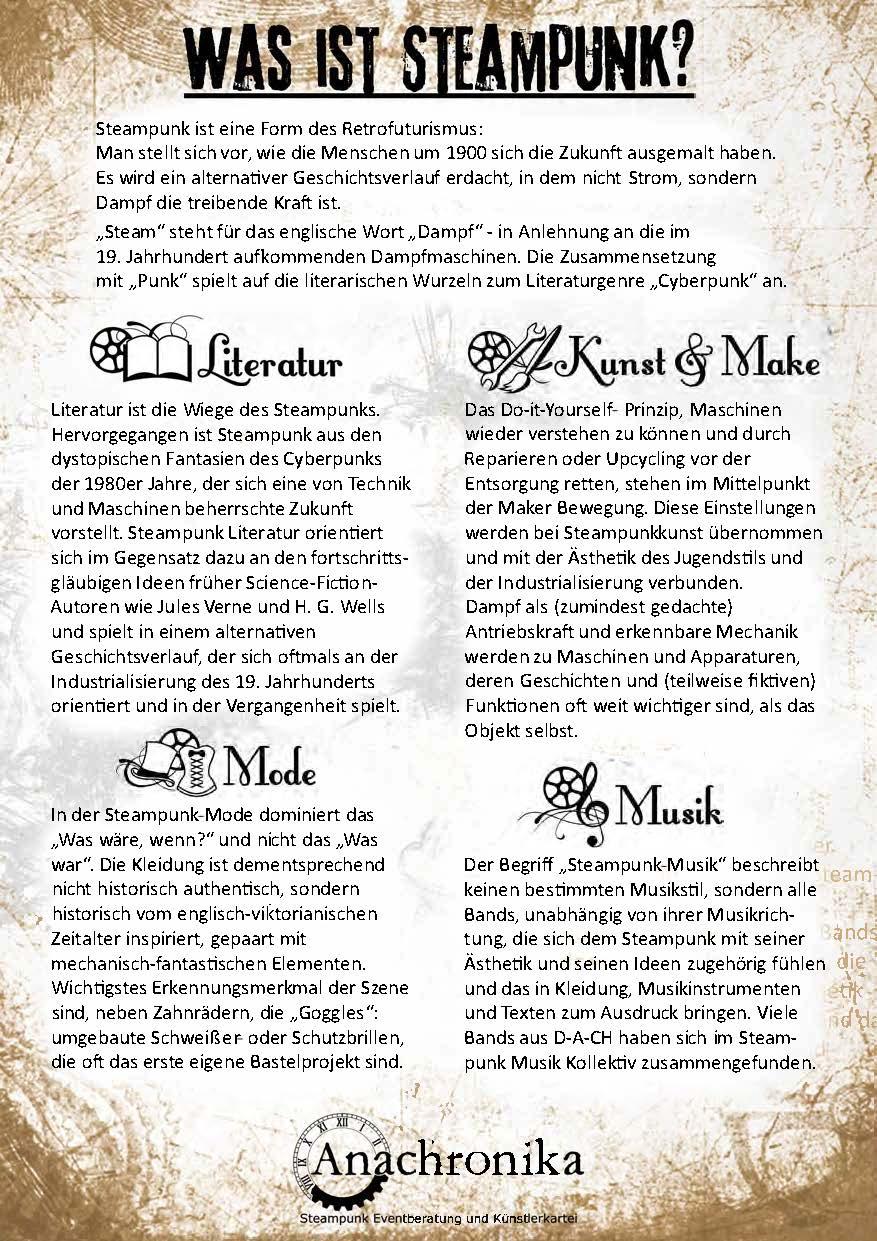 Was ist Steampunk? Eine Kurzerklärung als Plakat von Anachronika mit den Themen Literatur, Steampunk Musik, Kunst und Make sowie Mode