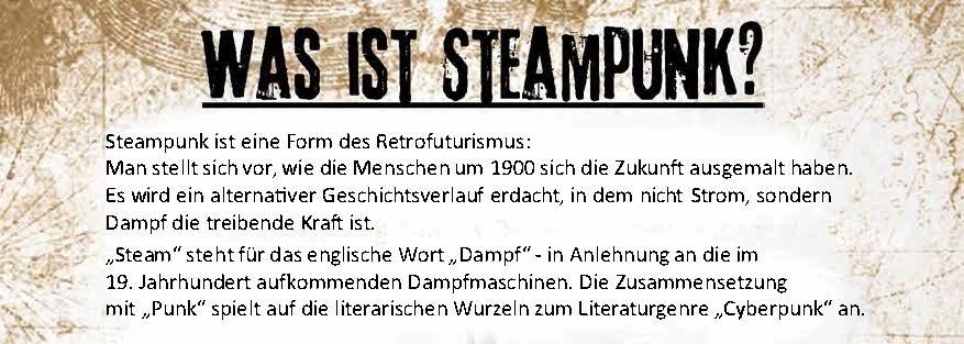 Überschrift des Was ist Steampunk Plakats