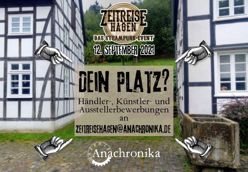 Die Ausschreibung für die Zeitreise Hagen am 12. September 2021 im Freilichtmuseum für Steampunk Künstler, Händler und Aussteller hat begonnen.